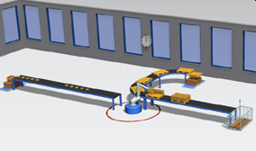Palletizing workplace with a robot